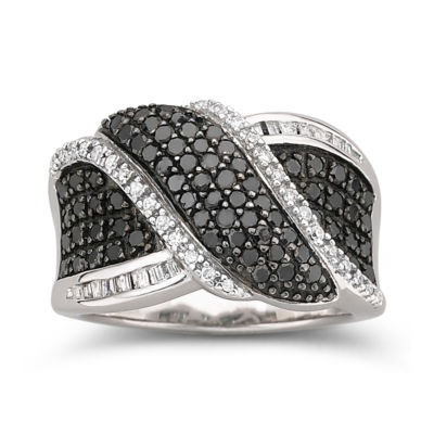 1 CT. T.W. White & Color-Enhanced Black Diamond Ring