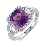 Cushion-Cut Lab-Created Alexandrite and 1/6 CT. T.W. Diamond 10K White Gold Ring