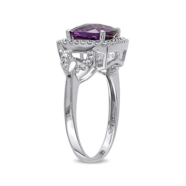 Fine Jewelry Cushion-Cut Lab-Created Alexandrite and 1/6 CT. T.W. Diamond 10K White Gold Ring 8y8ScGbP7j