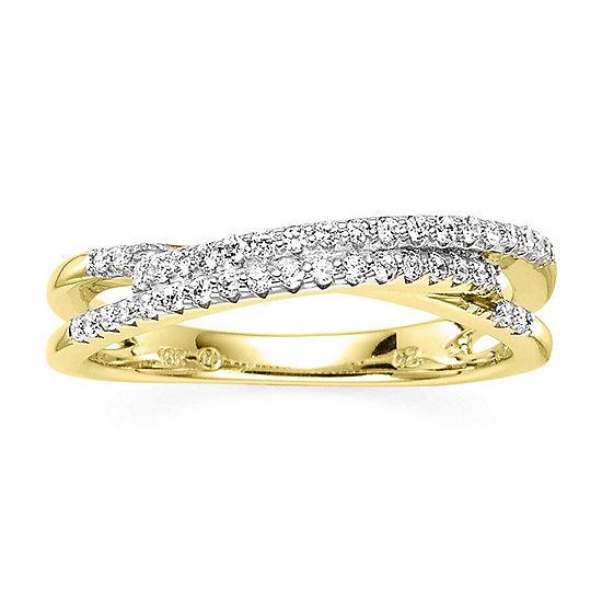 1/4 CT. T.W. Diamond 10K Yellow Gold 3-Row X Ring