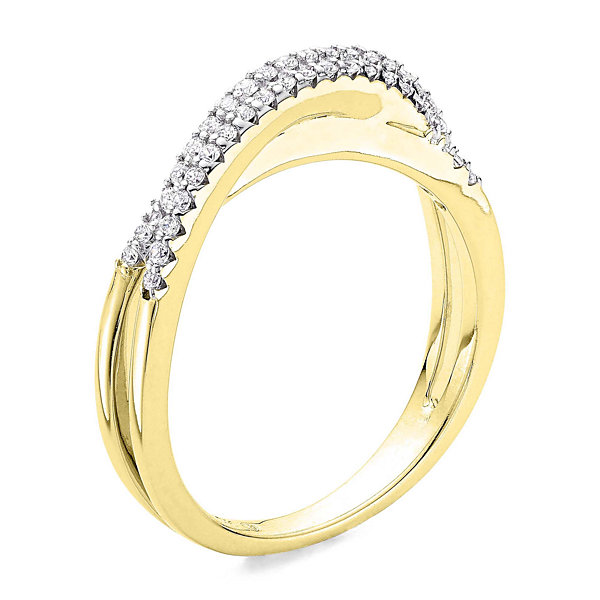1/4 CT. T.W. Diamond 10K Yellow Gold 3-Row X Ring