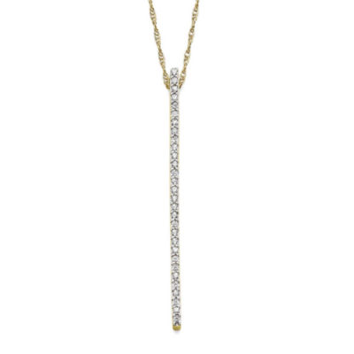 1/7 CT. T.W. Diamond 10K Yellow Gold Linear Pendant Necklace