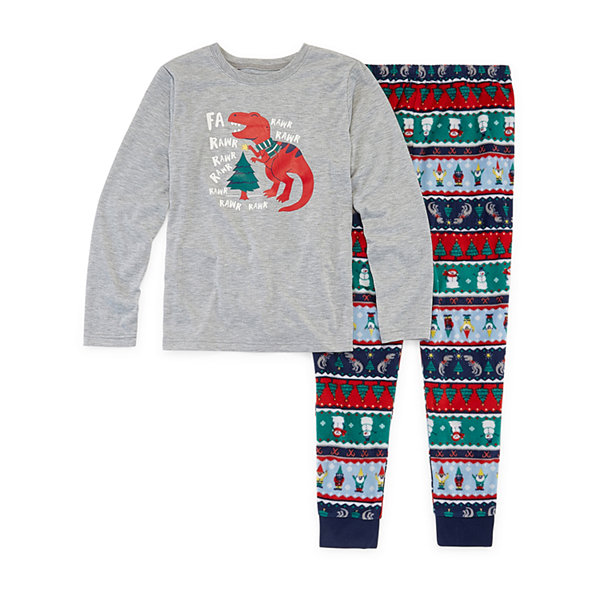 North Pole Trading Co. Fun Fairisle Family Boys 2-pc. Pant Pajama Set Big Kid Husky