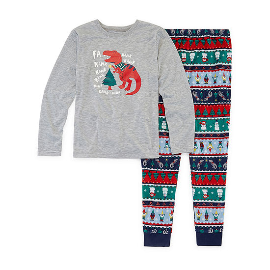 North Pole Trading Co. Fun Fairisle Family Big Boys Husky 2-pc. Pant Pajama Set