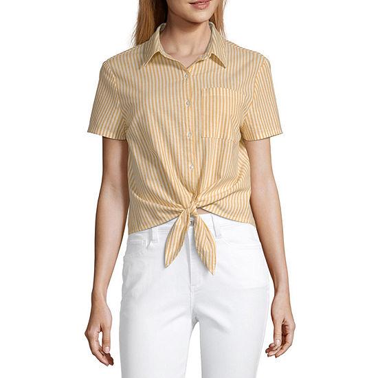 Arizona Womens Short Sleeve Button-Front Shirt-Juniors