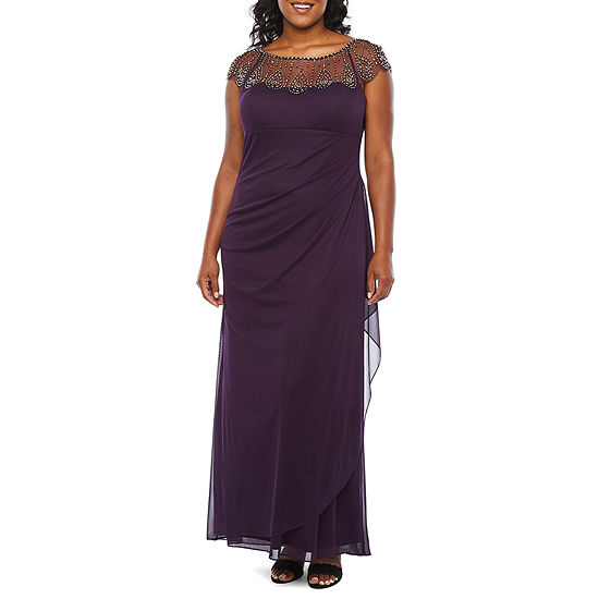 DJ Jaz Short Sleeve Embellished Evening Gown-Plus