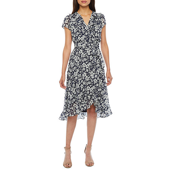 Danny & Nicole Short Sleeve Floral Fit & Flare Dress-Petite