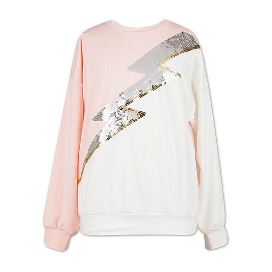Speechless Girls Scoop Neck Long Sleeve Sweatshirt - Big Kid
