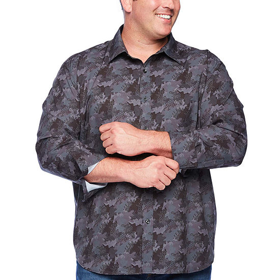 Society Of Threads Big and Tall Comfort Stretch Mens Long Sleeve Camouflage Button-Front Shirt