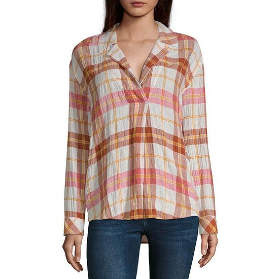 a.n.a Womens Collar Neck Long Sleeve Blouse