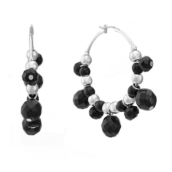 Mixit 1 Pair Black Hoop Earrings