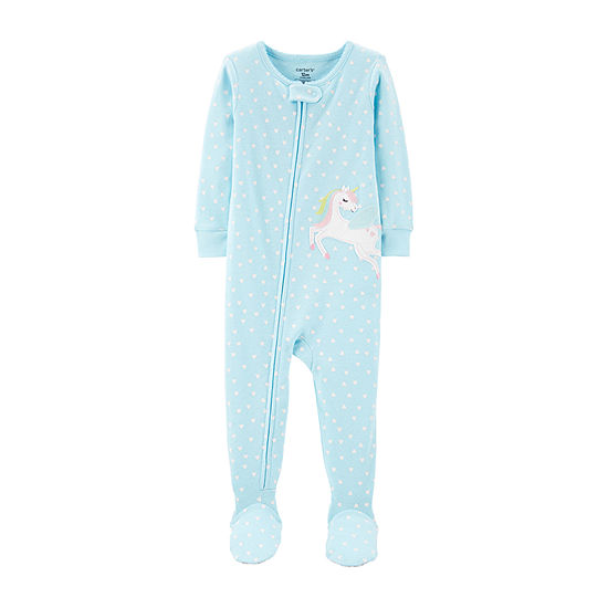 Carters Girls Knit Long Sleeve Crew Neck One Piece Pajama
