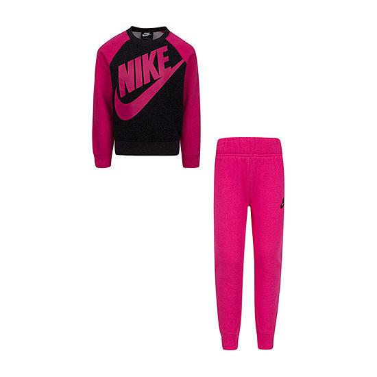 Nike Colorblock Little Girls 2-pc. Logo Pant Set