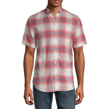 Arizona Mens Short Sleeve Plaid Button-Down Shirt, Medium , Red