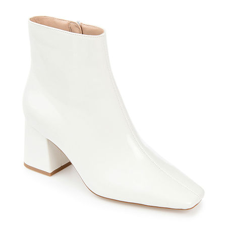 60s Shoes, Go Go Boots   1960s Shoes Journee Collection Womens Haylinn Booties Block Heel 7 Medium White $67.99 AT vintagedancer.com