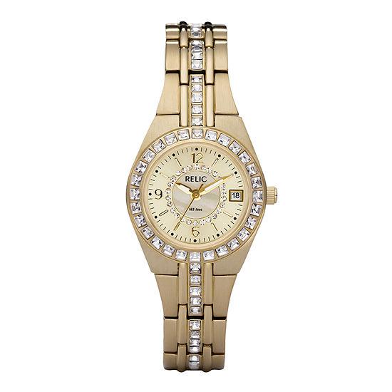 Relic By Fossil Womens Gold Tone Bracelet Watch-Zr11778