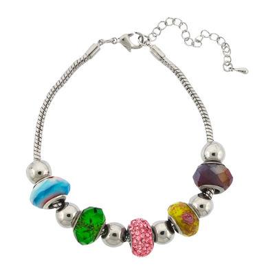 Dazzling Designs™ Silver-Plated Multicolor Artisan Glass Bead Bracelet
