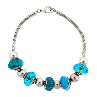 Dazzling Designs™ Silver-Plated Aqua Glass Bead Bracelet