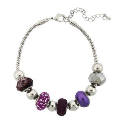 Dazzling Designs™ Silver-Plated Purple Artisan Glass Bead Bracelet