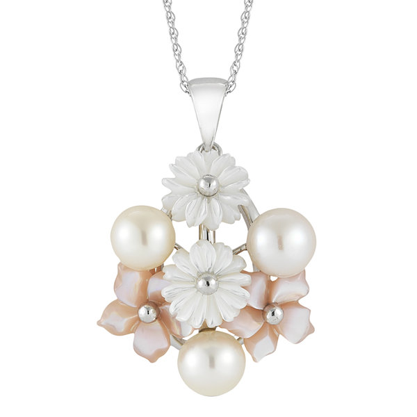 Cultured Freshwater Pearl & Mother-Of-Pearl Floral Pendant Necklace