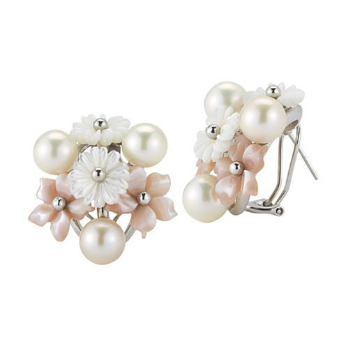 Cultured Freshwater Pearl & Mother-Of-Pearl Floral Earrings