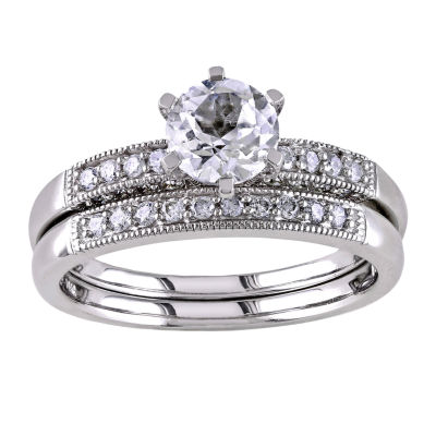 ⅓ CT. T.W. Diamond & Lab-Created White Sapphire Bridal Ring Set