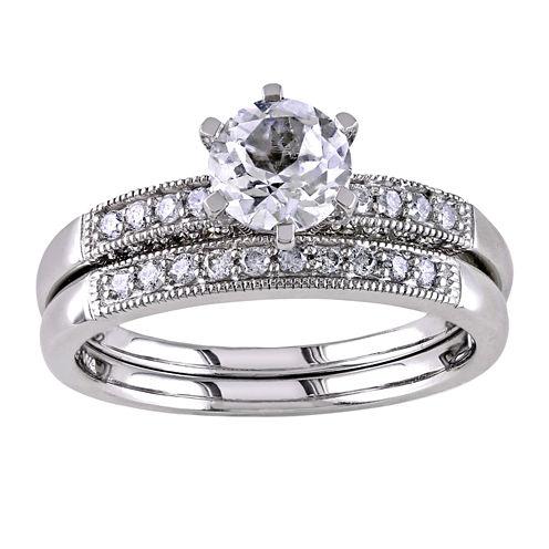 ⅓ CT. T.W. Diamond & Lab-Created White Sapphire Bridal Ring Set