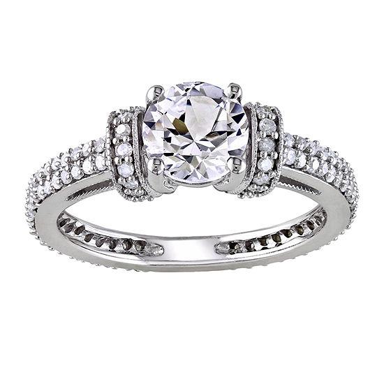 Ct Tw Diamond Lab Created White Sapphire Engagement Ring