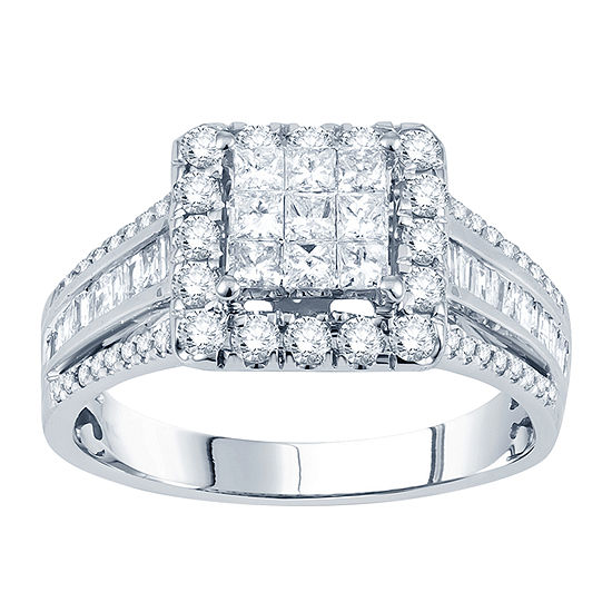 1 CT. T.W. Princess Diamond Deco-Style Engagement Ring