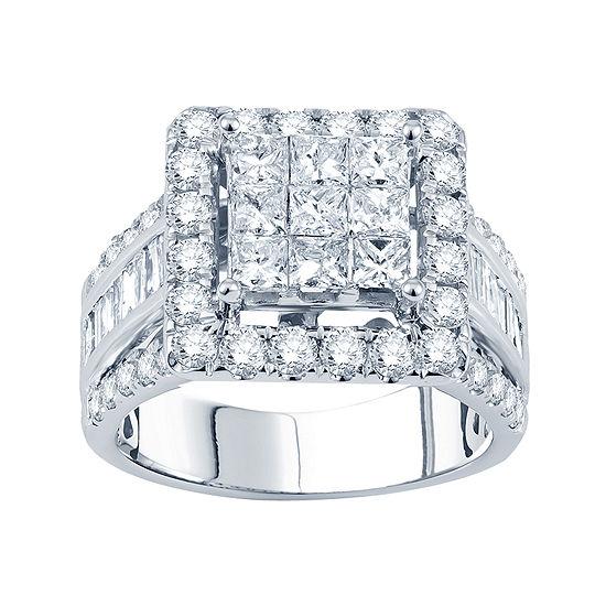 3 CT. T.W. Princess Diamond Deco-Style Engagement Ring