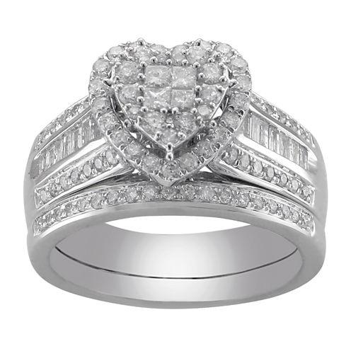 Cherished Hearts™ 1 CT. T.W. Certified Diamond Heart Bridal Ring Set