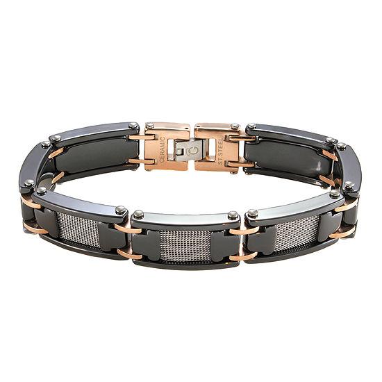 Men's Two-Tone Stainless Steel & Black Ceramic Bracelet