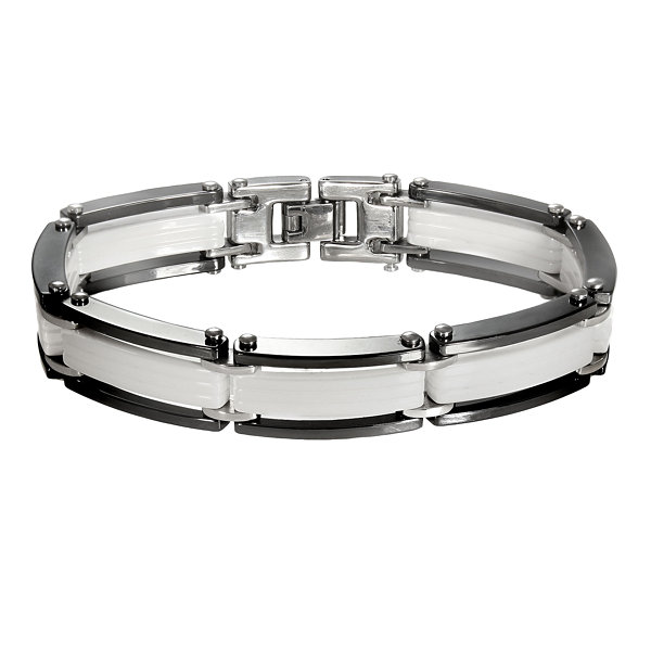 Men's Stainless Steel, Black & White Ceramic Flat-Link Bracelet