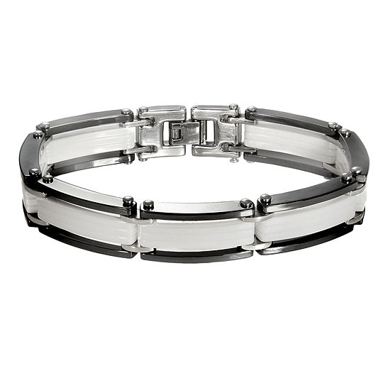 Men's Stainless Steel, Black & White Ceramic Flat-Link Bracelet