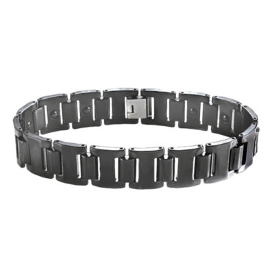 Men's Stainless Steel & Black Ceramic Link Bracelet