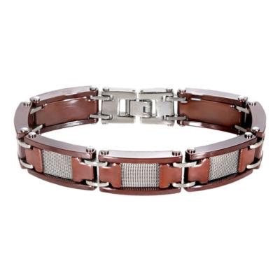 Men's Mesh Stainless Steel & Brown Ceramic Bracelet