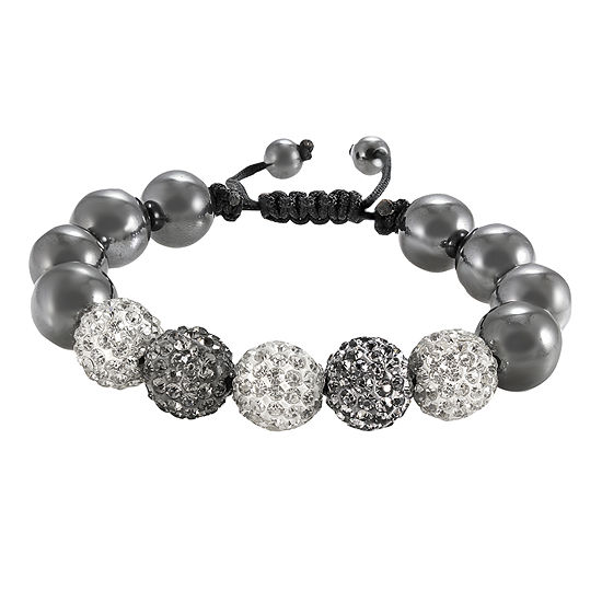 Men's Hematite & Two-Tone Crystal Bead Bracelet