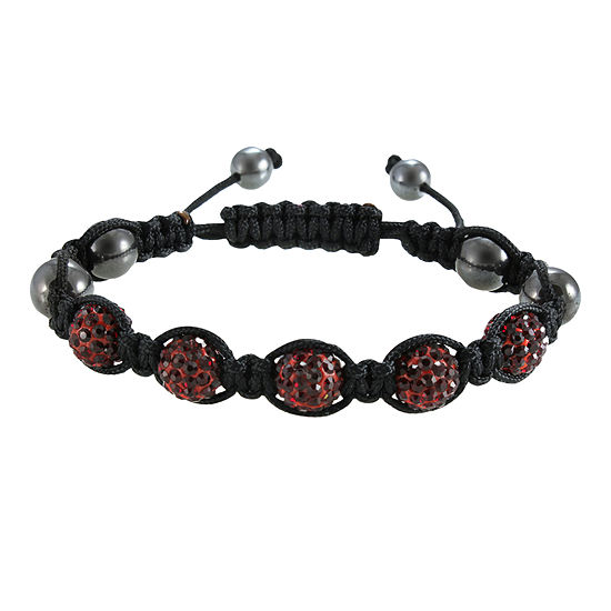 Men's Hematite, Red & Black Crystal Bracelet