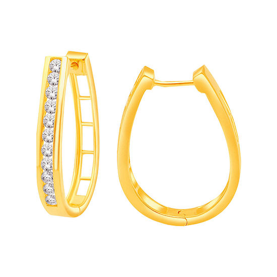T W Diamond 14k Yellow Gold Over Silver Hoop Earrings