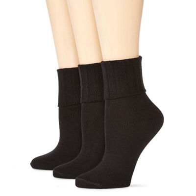 Mixit 3 Pack Turn-Cuff Socks- Womens
