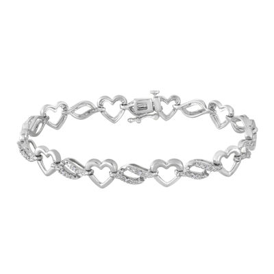 1/10 CT. T.W. Diamond Sterling Silver Heart Bracelet