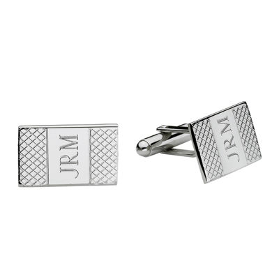 Personalized Grid Pattern Cuff Links