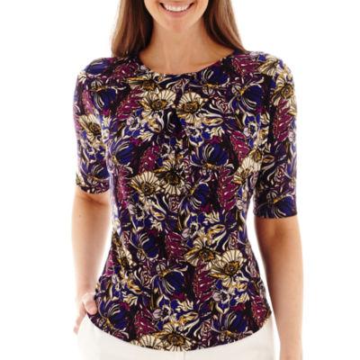 Liz Claiborne® Elbow-Sleeve Paisley Print Top - Tall
