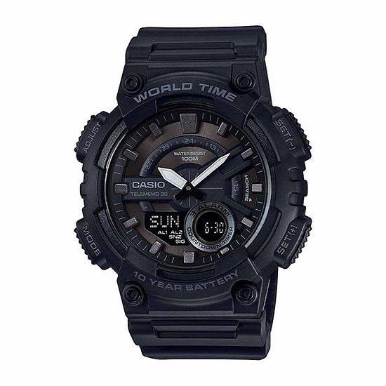 Casio World Time Mens Multi-Function Black Strap Watch-Aeq110w-1bos