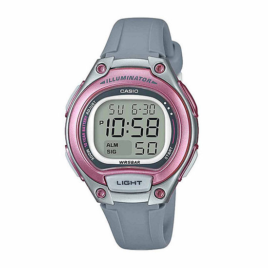 Casio Illuminator Womens Digital Gray Strap Watch-Lw203-8vpb