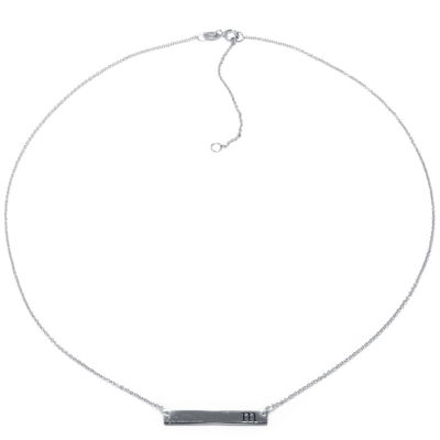 Silver Treasures Letter M Sterling Silver 16 Inch Cable Pendant Necklace