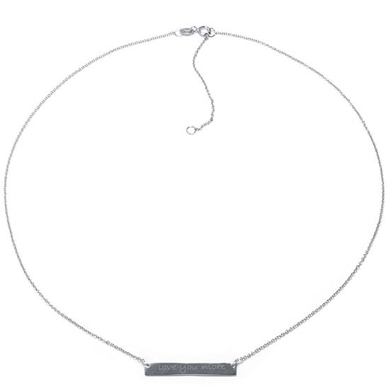 Silver Treasures Love You More Sterling Silver 16 Inch Cable Pendant Necklace