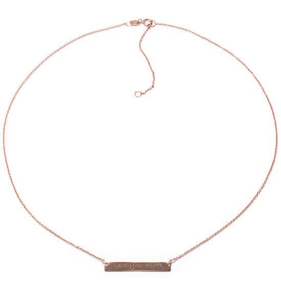 Silver Treasures 14K Rose Gold Over Silver Love You More 16 Inch Cable Pendant Necklace