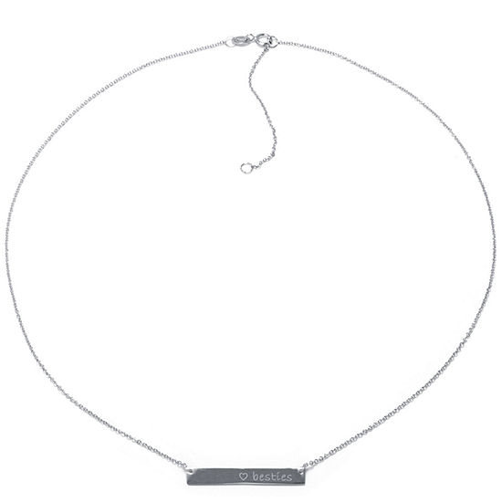 Silver Treasures Besties Sterling Silver 16 Inch Cable Pendant Necklace