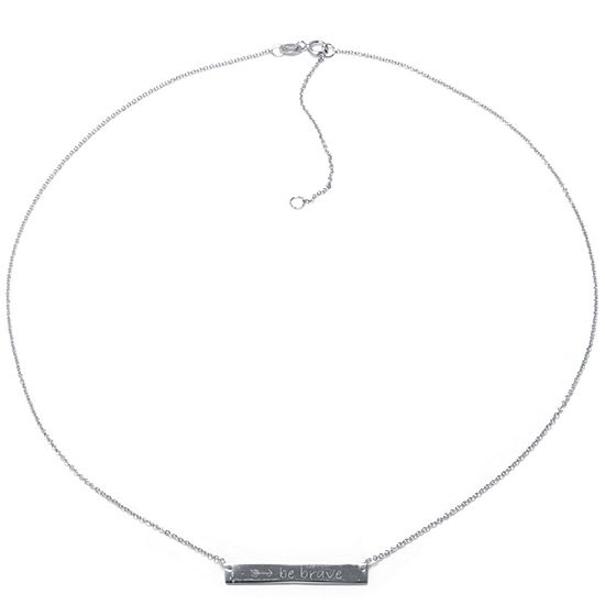 Silver Treasures Be Brave Sterling Silver 16 Inch Cable Pendant Necklace